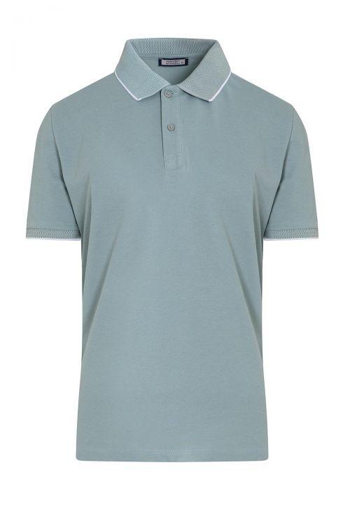 Mavi Baskılı Polo Yaka Tişört