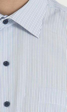 Çizgili Klasik Mavi Gömlek - Thumbnail