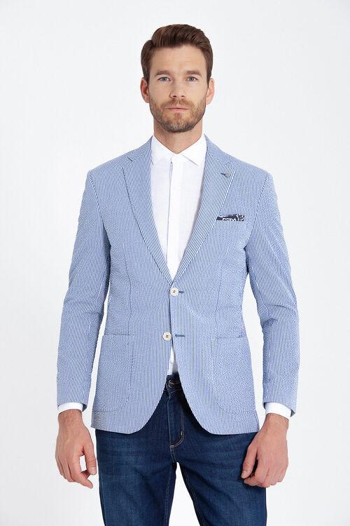 Mavi Çizgili Slim Fit Ceket