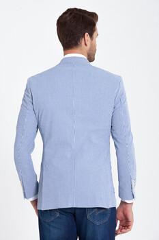 Mavi Çizgili Slim Fit Ceket - Thumbnail