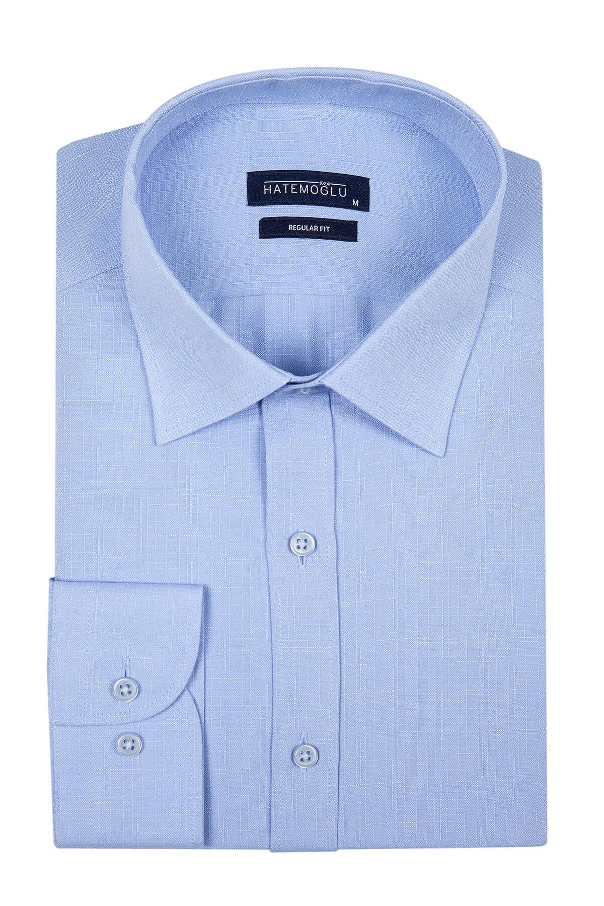 Mavi Desenli Klasik Gömlek