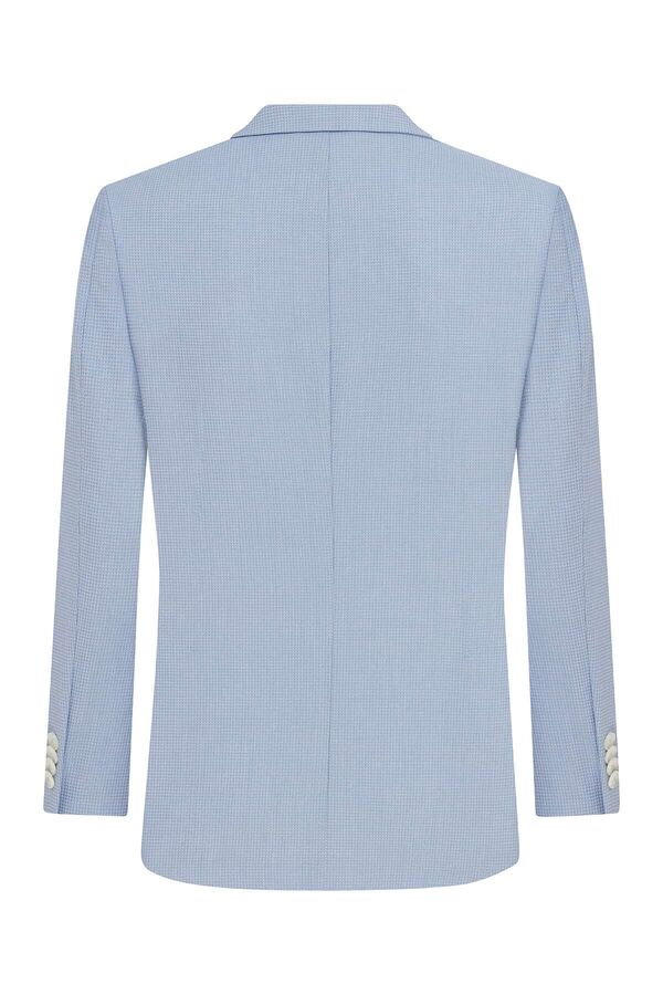 Açık Mavi Desenli Slim Fit Ceket
