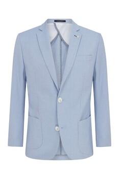 Açık Mavi Desenli Slim Fit Ceket - Thumbnail
