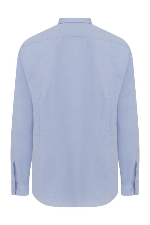 Slim Fit Mavi Armürlü Gömlek