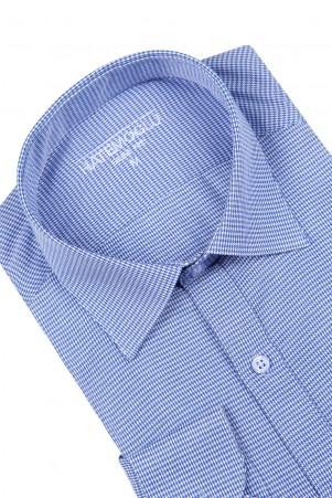 Mavi Desenli Slim Fit Gömlek - Thumbnail