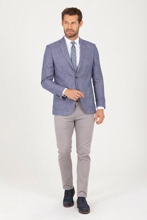 Mavi Slim Fit Desenli Keten Ceket - Thumbnail