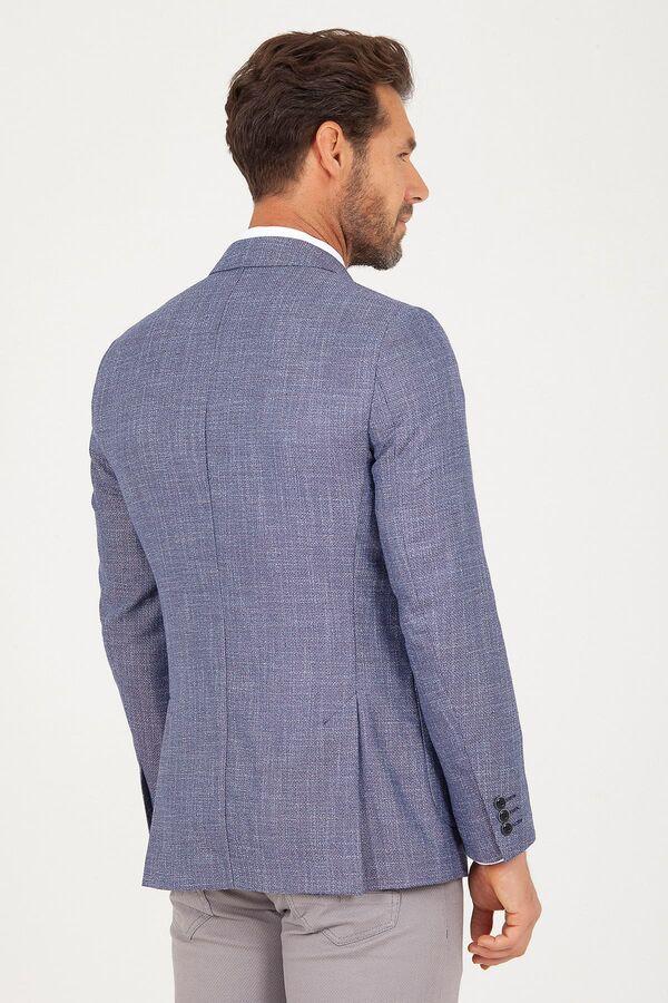 Mavi Slim Fit Desenli Keten Ceket