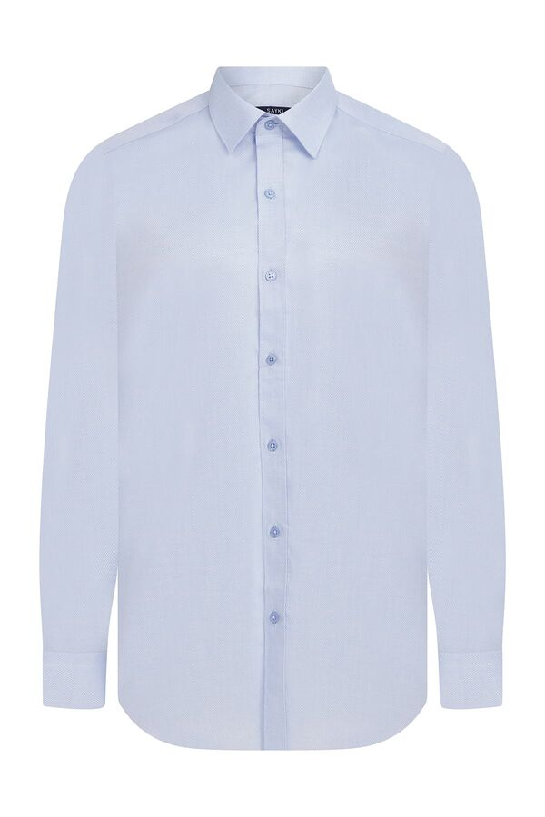 Regular Fit Armürlü Mavi Gömlek