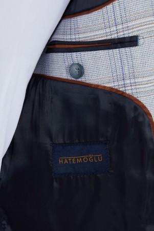 Mavi Desenli Slim Fit Takım Elbise - Thumbnail