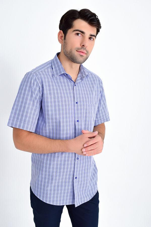 Kısa Kol Mavi Kareli Klasik Gömlek