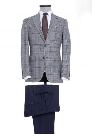 Mavi Kahverengi Kareli Mix Takım Elbise - Thumbnail