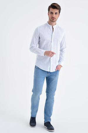 Mavi Slim Fit Keten Gömlek - Thumbnail