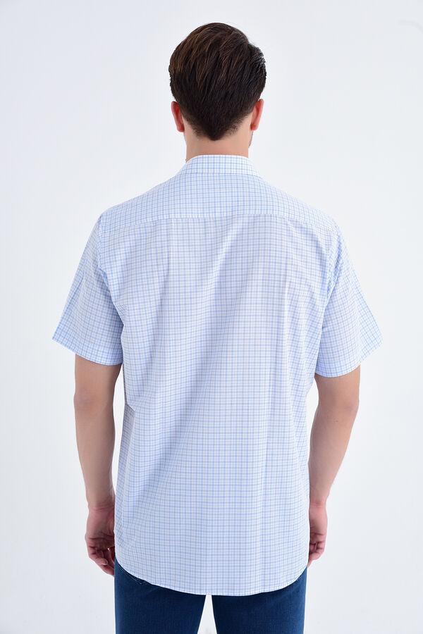 Mavi Kısa Kol Kareli Gömlek