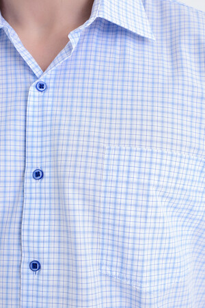 Mavi Kısa Kol Kareli Gömlek - Thumbnail