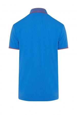 Mavi Polo Yaka Regular Fit Tişört - Thumbnail