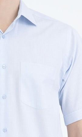 Mavi Kareli Klasik Gömlek - Thumbnail