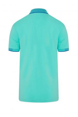 Mint Yeşil Polo Yaka Regular Fit Tişört - Thumbnail