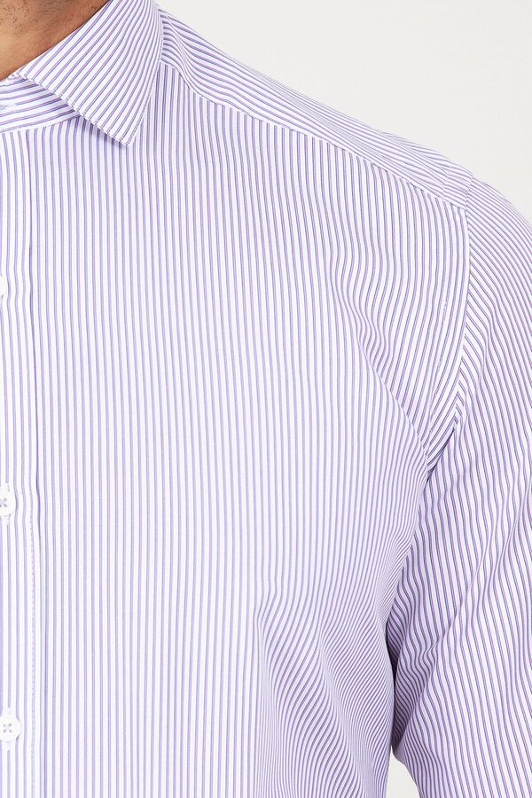 Çizgili Mor Slim Fit Gömlek