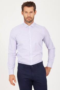 Çizgili Mor Slim Fit Gömlek - Thumbnail