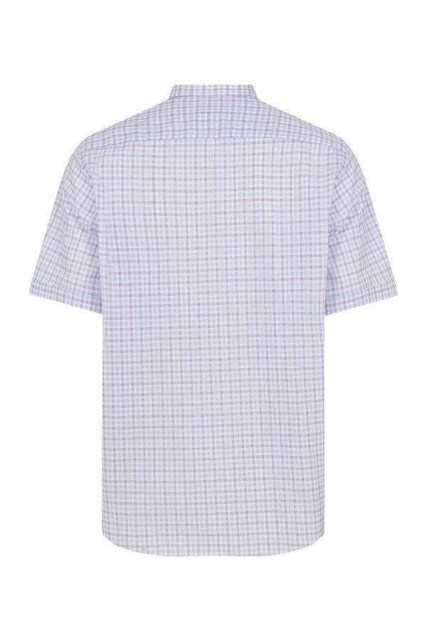 Kısa Kol Mor Kareli Klasik Gömlek