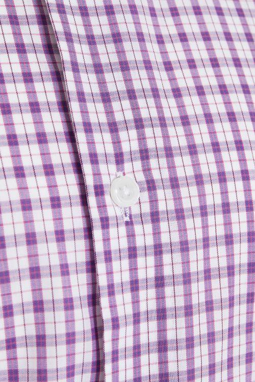 Mor Kareli Kısa Kol Klasik Gömlek