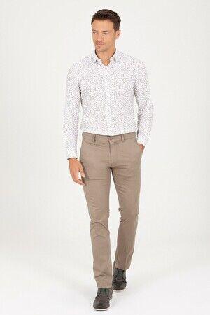 Bej Regular Fit Kanvas Pantolon