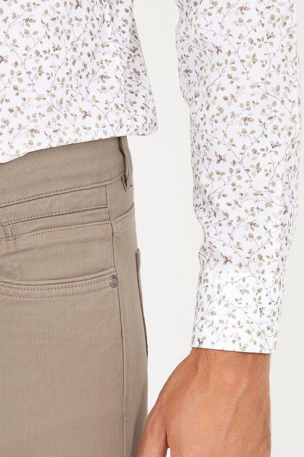 Bej Slim Fit Kanvas Pantolon