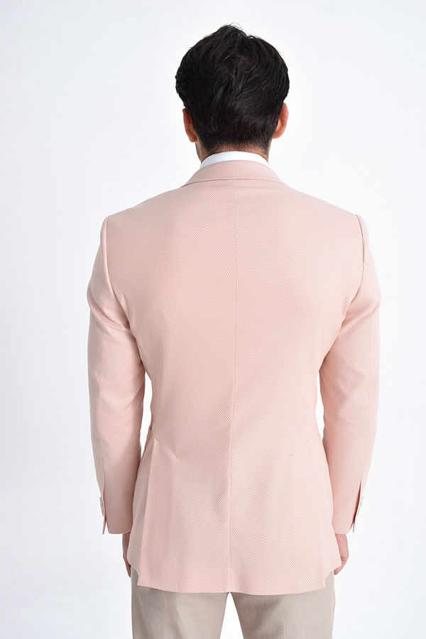 Pembe Desenli Slim Fit Ceket