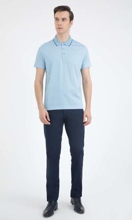 Açık Mavi Polo Yaka Basic Tişört - Thumbnail
