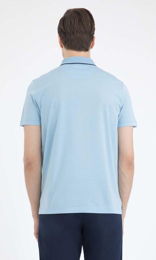 Açık Mavi Polo Yaka Basic Tişört
