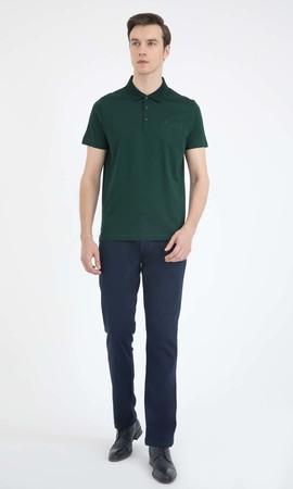 Yeşil Polo Yaka Basic Tişört - Thumbnail