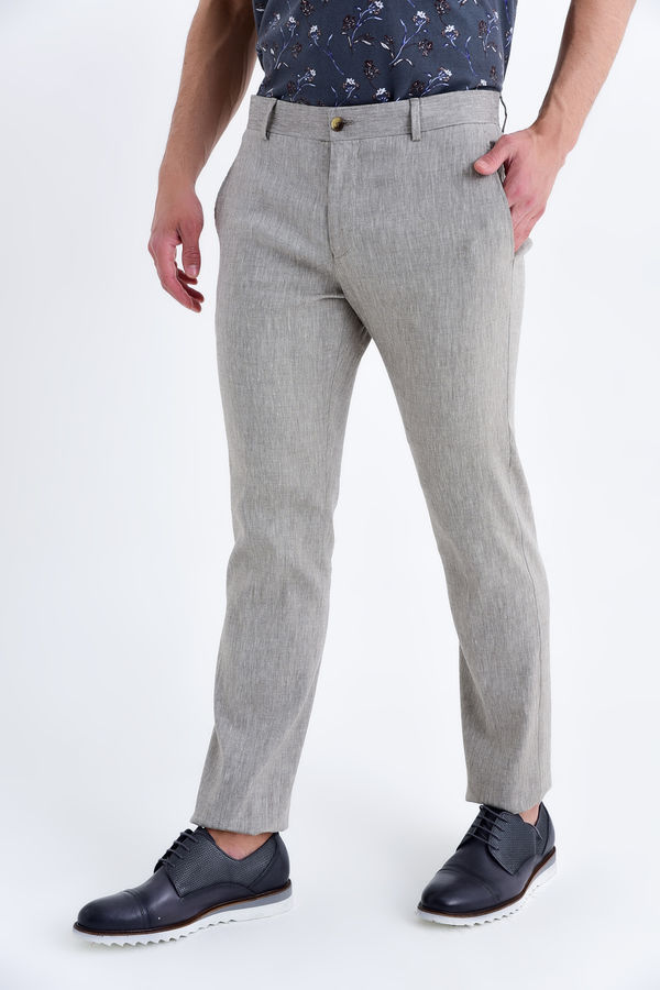 Bej Regular Fit Keten Pantolon