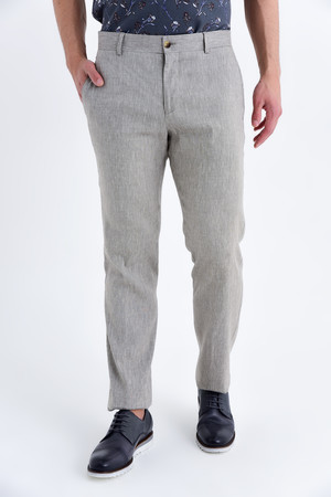 Bej Regular Fit Keten Pantolon - Thumbnail