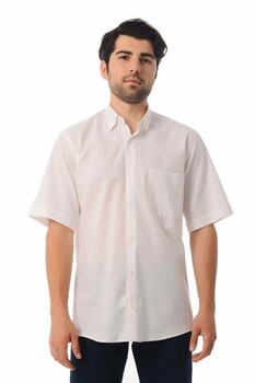 Beyaz Kısa Kol Keten Gömlek - Thumbnail