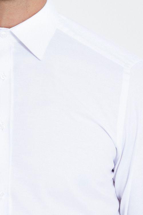 Regular Fit Armürlü Beyaz Gömlek