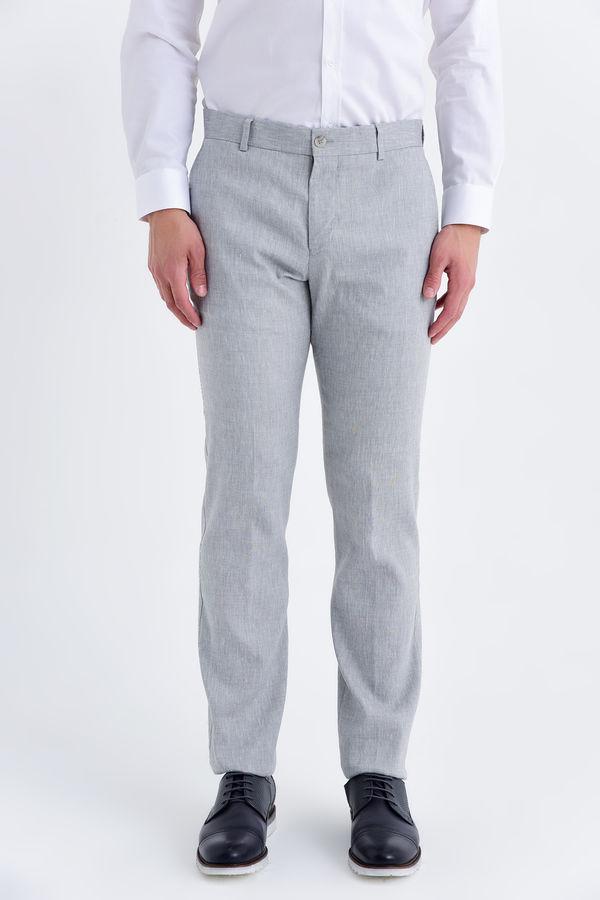 Gri Regular Fit Keten Pantolon