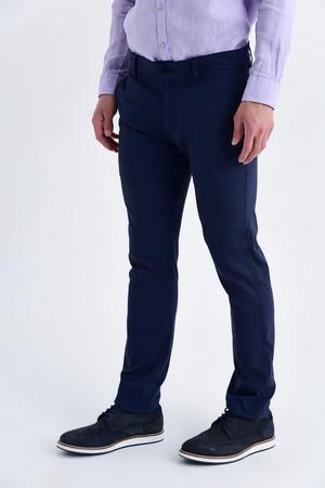 Lacivert Regular Fit Keten Pantolon - Thumbnail