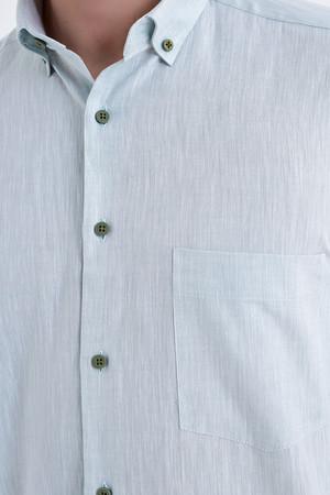 Kısa Kol Düğmeli Yaka Yeşil Klasik Gömlek - Thumbnail