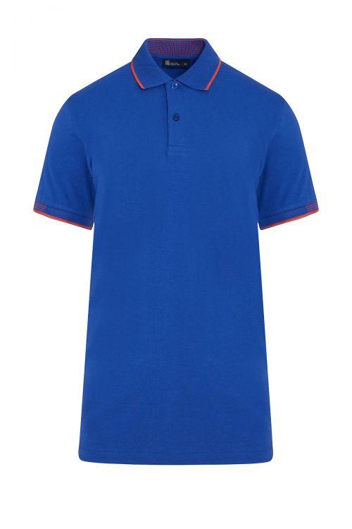 Saks Mavi Polo Yaka Regular Fit Tişört