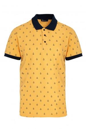 Sarı Baskılı Polo Yaka Tişört - Thumbnail