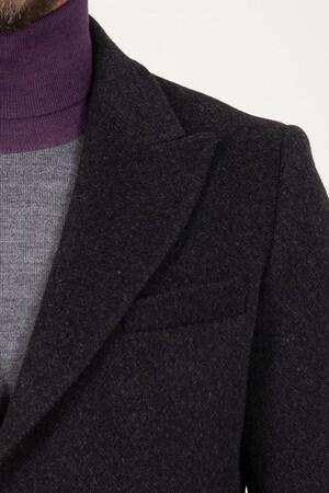 Antrasit Kırlangıç Yaka Yünlü Palto - Thumbnail