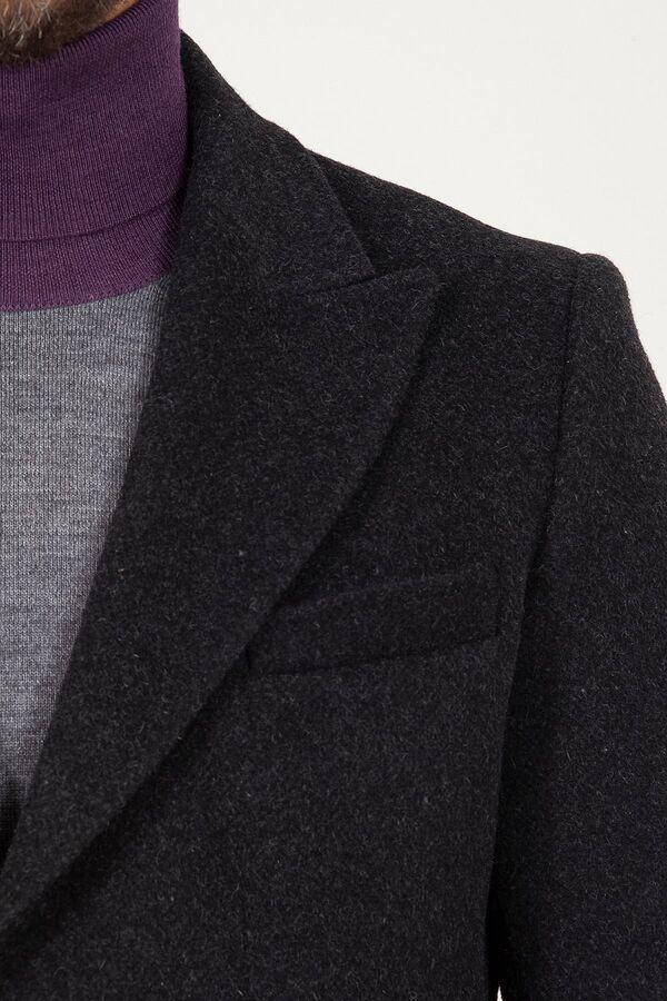 Antrasit Kırlangıç Yaka Yünlü Palto