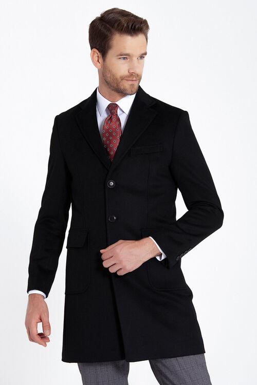 Siyah Kırlangıç Yaka Yünlü Palto