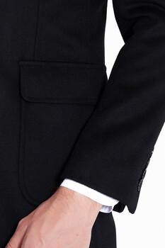 Siyah Kırlangıç Yaka Yünlü Palto - Thumbnail