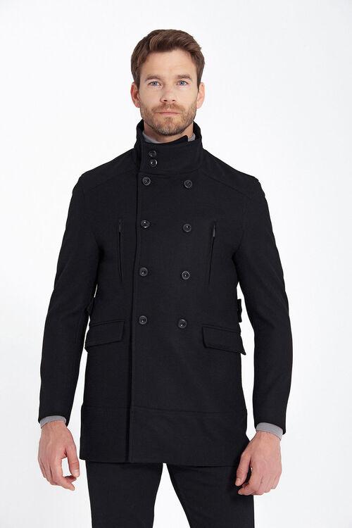 Siyah Düğme Yaka Yünlü Palto