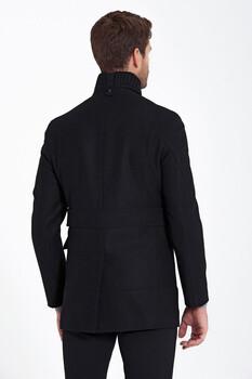 Siyah Düğme Yaka Yünlü Palto - Thumbnail