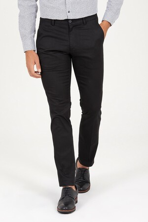 Siyah Regular Fit Kumaş Pantolon - Thumbnail