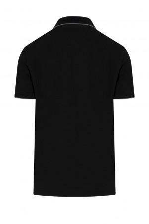 Siyah Baskılı Polo Yaka Tişört - Thumbnail