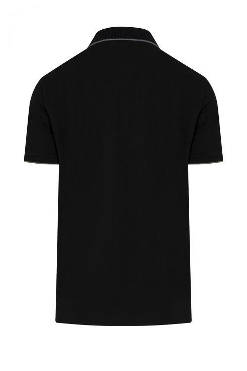 Siyah Baskılı Polo Yaka Tişört