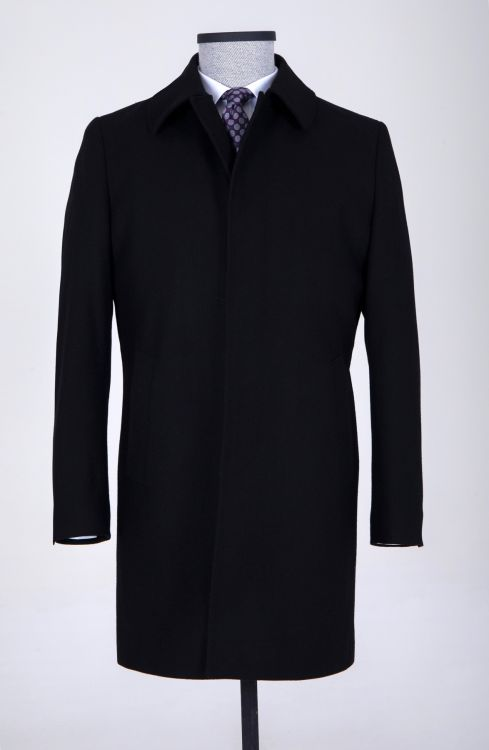 Siyah Bebe Yaka Yün Palto